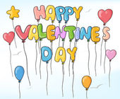 Happy valentines ballons — Stock Vector
