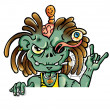 Zombie with signboard - Stock Vector