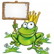 Stock Vector: Frog with wood signboard with blank customizable