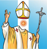 New pope with argentina flag — Stock Vector