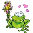 Frog with bouquet — Stock Vector