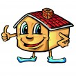 Happy house cartoon thumb-up — Vettoriali Stock