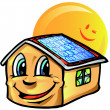 House cartoon with sun — Imagen vectorial