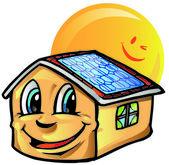 House cartoon with sun — Stock Vector