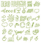 Eco icons hand draw 3 — Stock Vector