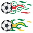 Soccer with  flag flame  brasil vs italy — Stock Vector