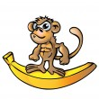 Stock Vector: Monkey muscle cartoon