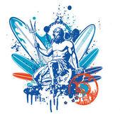 Poseidon surfer — Stock Vector
