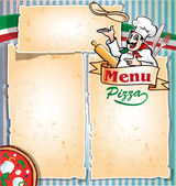 Pizza menu with chef — Stock Vector