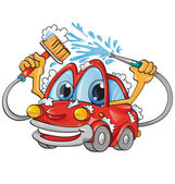 Car wash cartoon — Stock Vector