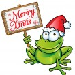 Stock Vector: Christmas frog