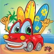 Stock Vector: Summer time car cartoon