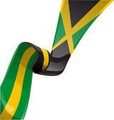 Jamaica ribbon flag isolate on white — Stock Vector