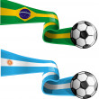 Stock Vector: Argentin& brazil flag with soccer ball