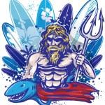 Poseidon surfer surfboard — Stock Vector #37934341