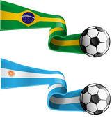 Argentina & brazil flag with soccer ball — Stock Vector