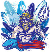 Poseidon surfer surfboard — Stock Vector