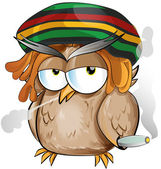 Jamaican owl cartoon — Stock Vector