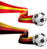 Spain and germany flag with soccer ball — Vettoriale Stock