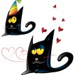 Stock Vector: Two variant of black cat cartoon party and valentine's day