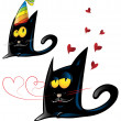 Two variant of black cat cartoon party and valentine's day — Stock Vector