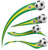 Brazil flag set with soccer ball — Stock Vector