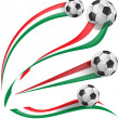 Italian flag set with soccer ball — Stock Vector #44699689