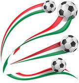 Italian flag set with soccer ball — Stock Vector