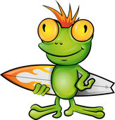 Frog cartoon surfer  — Stock Vector