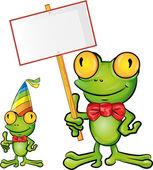 Frog cartoon with signboard — Stock Vector