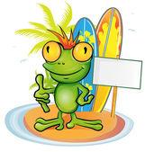Frog cartoon surfer on island background — Stock Vector