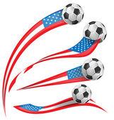 USA flag set whit soccer ball — Stock Vector
