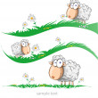 Sheep cartoon set on meadow — Stock Vector #47248581