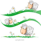 Sheep cartoon set on meadow — Stock Vector