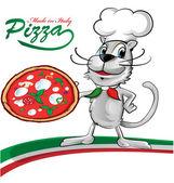 Cartone animato del gatto lo chef con pizza — Stockvektor
