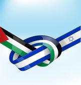 Palestine and israel ribbon flag — Stock Vector