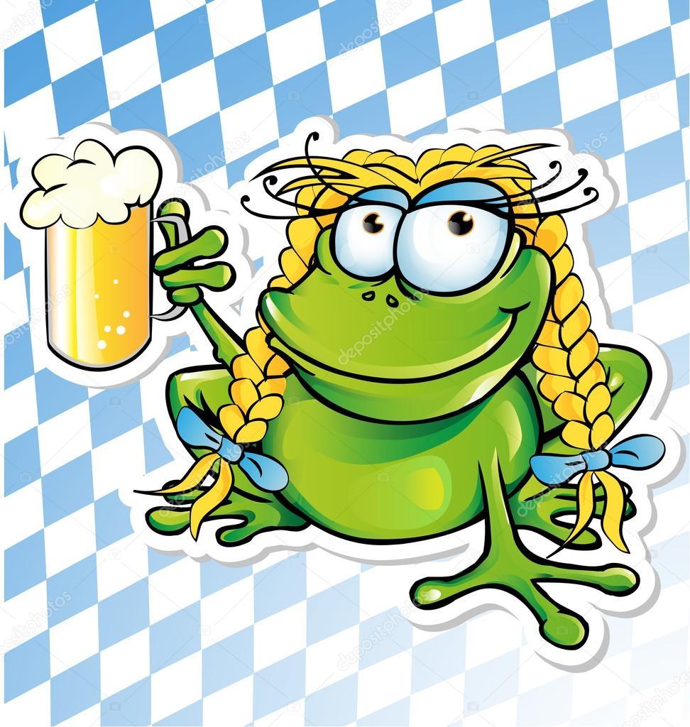 Cartone animato divertente rana con un bicchiere di birra
