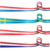 European flag ribbon flag set — Stock Vector