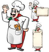 Italian chef set isolated — Stock Vector