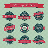 Collection of vintage retro sale labels — Stock Vector