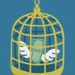 Stock Vector: Dollar in golden bird cage