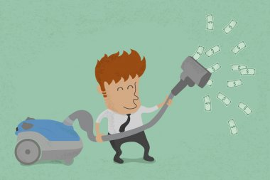 Businessman with vacuum cleaner catching dollar bills