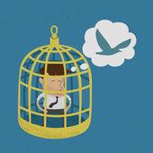 Business man in golden bird cage , eps10 vector format — Stock Vector