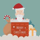 Santa Claus standing gift boxes falling down around him — Stok Vektör