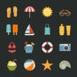 Summer icons , Vacation icons with black background — Image vectorielle