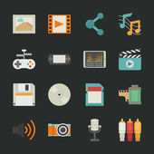 Multimedia icons with black background — Stock Vector