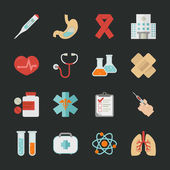 Medical and health icons with black background — Stock Vector