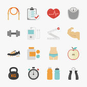 Fitness and health icons with white background — Stock Vector