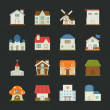 City and town buildings icons , flat design — Stock Vector