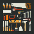 Hand tools icon set , flat design — Stock Vector #39748579